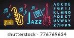 jazz music neon light glowing...   Shutterstock .eps vector #776769634