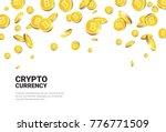 realistic golden bitcoins... | Shutterstock .eps vector #776771509