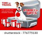 baggage. a dog in a suitcase. ... | Shutterstock .eps vector #776775130
