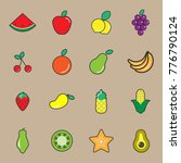 fruit vegetables icon set | Shutterstock .eps vector #776790124
