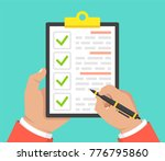 hand with black pen and... | Shutterstock .eps vector #776795860