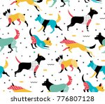 Stock vector simple modern pattern with dogs in the style of memphis pattern with geometric shapes of the s 776807128