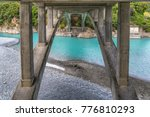 underneath rakaia gorge bridge | Shutterstock . vector #776810293