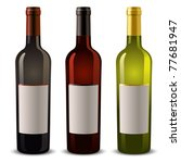 wine bottles with blank label | Shutterstock .eps vector #77681947