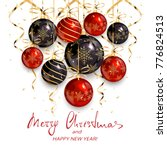 red and black christmas balls... | Shutterstock .eps vector #776824513