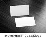 mockup of white business cards... | Shutterstock . vector #776833033