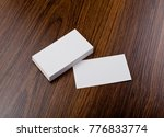 mockup of white business cards... | Shutterstock . vector #776833774