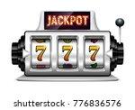 slot machine. lucky seven on... | Shutterstock .eps vector #776836576