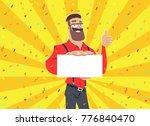 businessman holding white blank ... | Shutterstock .eps vector #776840470