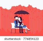 couple in love under umbrella.... | Shutterstock .eps vector #776854123