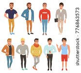 collection of handsome men in... | Shutterstock .eps vector #776863573