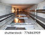 elevator in lift shaft | Shutterstock . vector #776863909