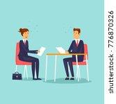 interview for a new job. flat...   Shutterstock .eps vector #776870326