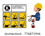 set of class k fire icon and ... | Shutterstock .eps vector #776871946