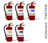 set of extinguisher tank with... | Shutterstock .eps vector #776871958