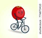 tomato riding bike cartoon... | Shutterstock .eps vector #776873410