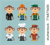 set of monkey in different... | Shutterstock .eps vector #776875600