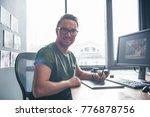 portrait of happy unshaven... | Shutterstock . vector #776878756