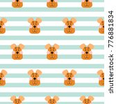 puppy head seamless pattern... | Shutterstock .eps vector #776881834