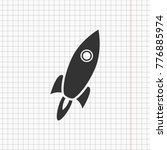 flat rocket icon on the...