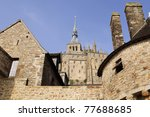 abbey Mont  St. Michel in france - stock photo