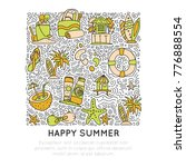 summer and beach hand draw icon ... | Shutterstock .eps vector #776888554