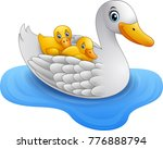 cartoon mother duck with baby... | Shutterstock .eps vector #776888794