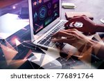 side view of hand using laptop... | Shutterstock . vector #776891764