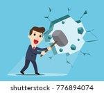 businessman holding a hammer... | Shutterstock .eps vector #776894074