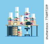huge pile of paper documents... | Shutterstock .eps vector #776897209