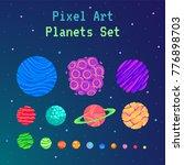 pixel art planets set . cartoon ... | Shutterstock .eps vector #776898703