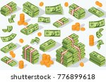 Stock vector money currency vector illustration various money bills dollar cash paper bank notes and gold coins 776899618