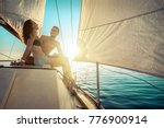 romantic couple in love on sail ... | Shutterstock . vector #776900914