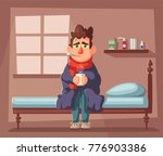 sick man. unhappy character.... | Shutterstock .eps vector #776903386