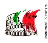 rome colosseum sign. italian... | Shutterstock .eps vector #776904178