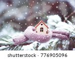 christmas toy house is wrapped... | Shutterstock . vector #776905096