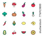 fruit and vegetables icon set.... | Shutterstock .eps vector #776915800