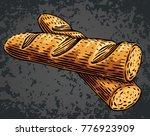 hand drawn baguette cut slices... | Shutterstock .eps vector #776923909