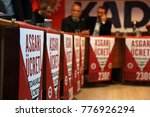 """Small photo of Istanbul, TURKEY / December 15, 2017: Trade unions members are demanding pay rise. They say """"minimum wage has to rise"""". A press conference photo about this demand."""