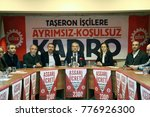 "Small photo of Istanbul, TURKEY / December 15, 2017: Trade unions members are demanding pay rise. They say ""minimum wage has to rise"". A press conference photo about this demand."