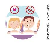 upset couple lying in bad facig ... | Shutterstock . vector #776940346