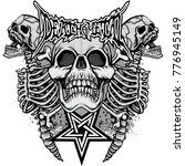 gothic coat of arms with skull  ... | Shutterstock .eps vector #776945149