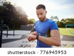 young man at outdoor gym...   Shutterstock . vector #776945953