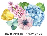 bouquet of flowers   anemones ... | Shutterstock . vector #776949403