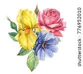 bouquet of flowers  yellow iris ...   Shutterstock . vector #776952010