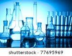 blue chemistry vials ... | Shutterstock . vector #77695969