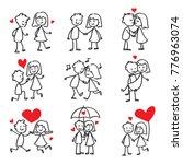 couple in love stick figure... | Shutterstock .eps vector #776963074