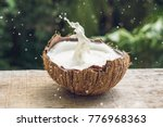 coconut fruit and milk splash... | Shutterstock . vector #776968363