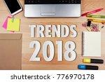 trends 2018 paper word with...   Shutterstock . vector #776970178