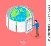 online news flat isometric... | Shutterstock .eps vector #776971318